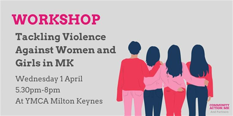 Event banner - four women arm in arm to represent solidarity and unity