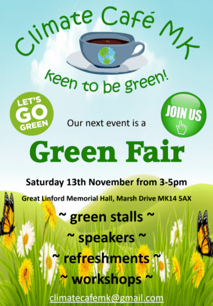 climate cafe mk green fair poster. Green and black writing on a blue sky and green field background