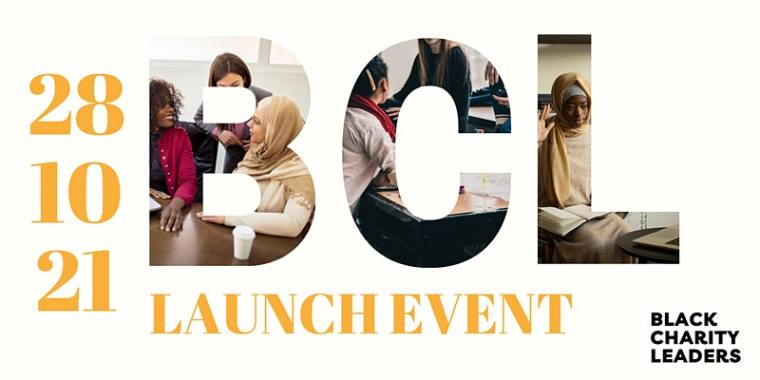 bcl launch event 28/10/2021 banner - gold writing on a white background. People visual in the letters BCL