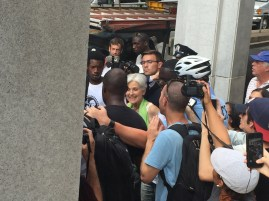 Jill Stein leaving the rally