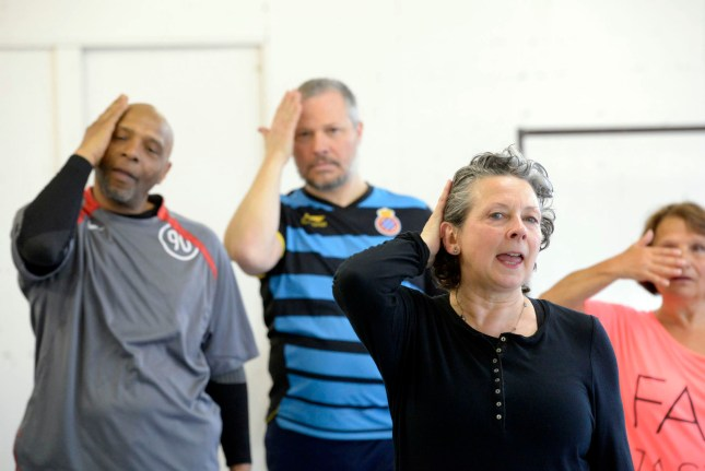 West Yorkshire Playhouse rehearsals for production of ANNIVERSARY directed by Alan Lyddiard
