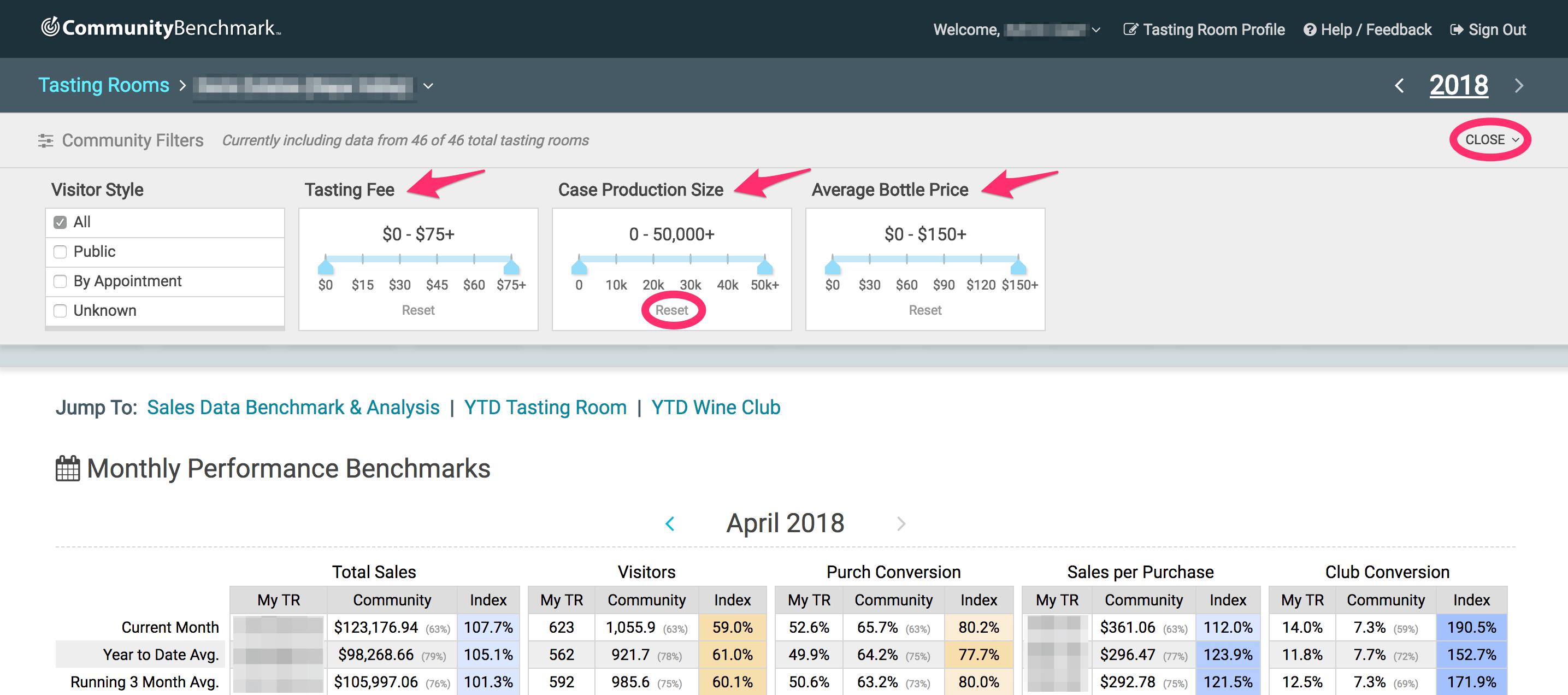Community Filters Bar