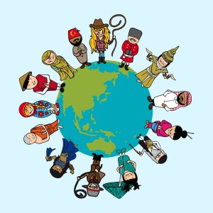 Diversity concept, people cartoons over planet earth with distin