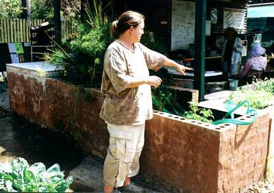 Joanna points out the greywater system contained in the wall around the shelter building. Processed greywater is used to irrigate the garden.