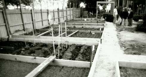 Collingwood Estate Commuity Garden under construction.