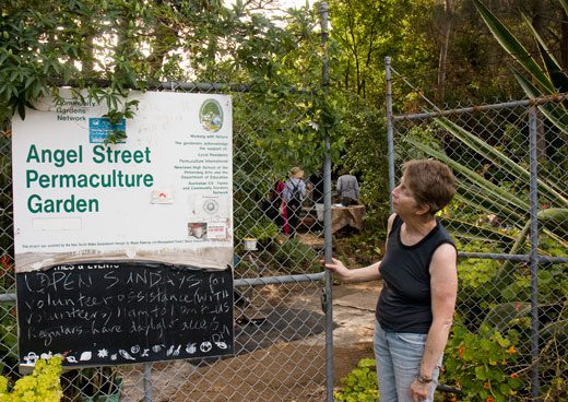 The sign at Angel Street Permaculture Garden acknowledges the Australian City Farms & Community Gardens Network.