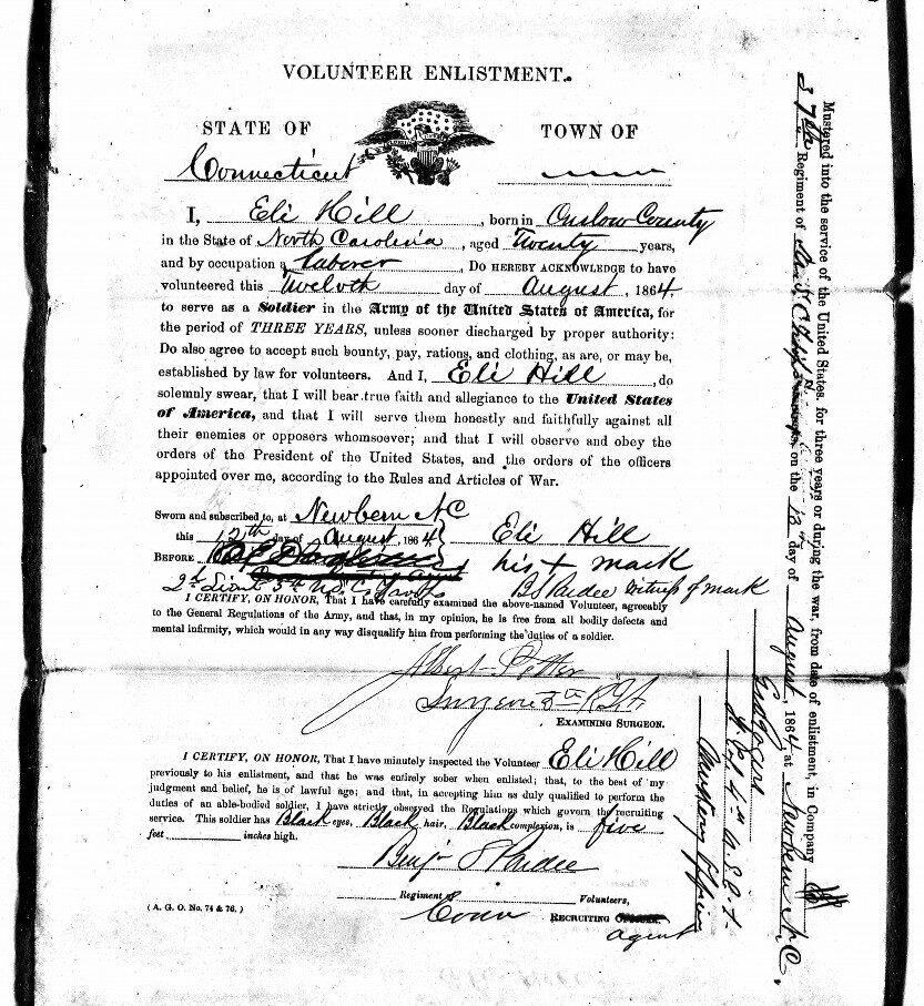 Black and white image of a volunteer enlistment paper. It shows Eli Hill enlisting as a soldier in the US Army in 1864.