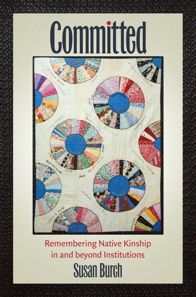 Book cover description: The title, COMMITTED, written in black, is above the Jensen family quilt. The quilt's 12 squares hold blue plates within larger circles of bright calico fabrics. At the bottom, the book's subtitle and author's name.
