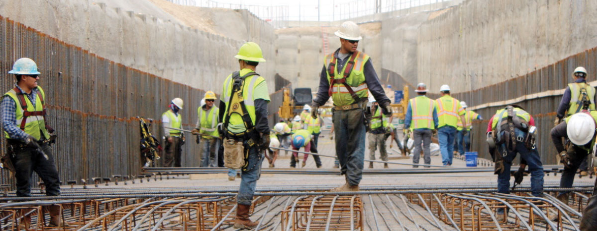 Workers add rebar in January before concrete is poured for the southbound express lane underpass.