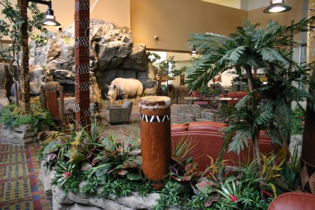 The lobby of Kalahari Resort in Sandusky, Ohio, displays the resort's African theming.
