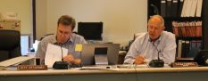 Rollingwood Mayor Thom Farrell (right) identifies his priorities for the fiscal year 2016-17 budget at the July 20 City Council meeting.