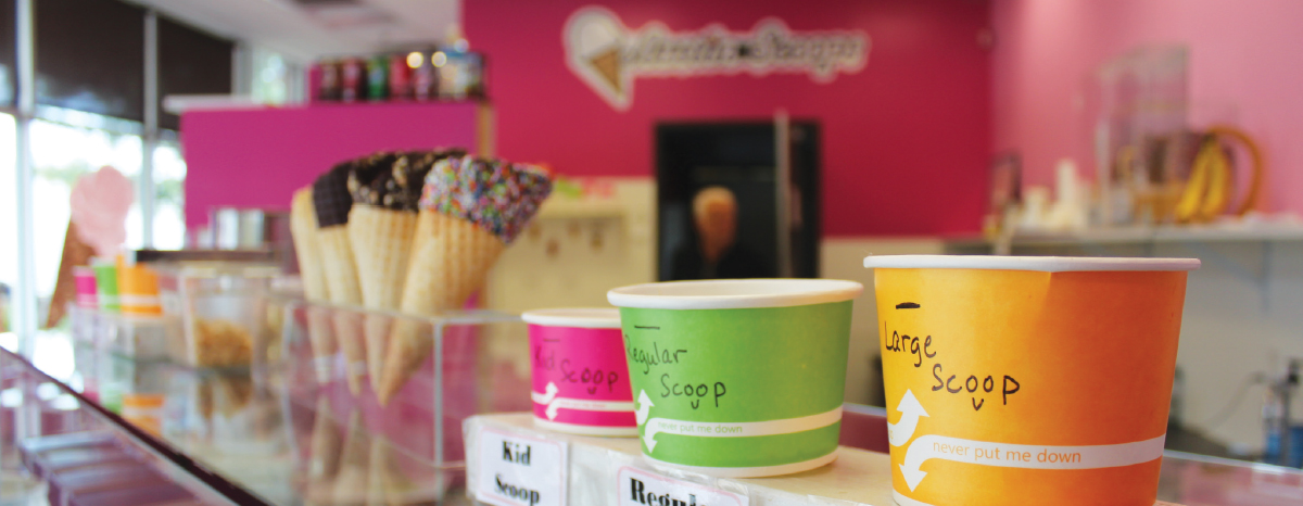 Austin Scoops has an always-available assortment of flavors, including vanilla and cotton candy.
