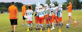 Children in grades K-2 compete in flag football; third- through sixth-graders play tackle football.