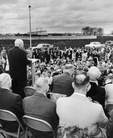 Texas lawmaker Sam Rayburn speaks during the opening day ceremony for the North Texas Municipal Water District's water treatment facility in Wylie on Nov. 8, 1956.