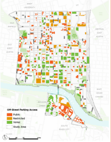 This map shows an inventory of the off-street parking in downtown Austin.