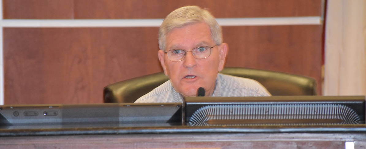 Fred Goff, vice president of the West Travis County Public Utility Agency, weighs in on a request to provide additional service to a new development off Hamilton Pool Road. Goff is the agency's representative from Municipal Utility District 5 that includes the Lake Pointe neighborhood.