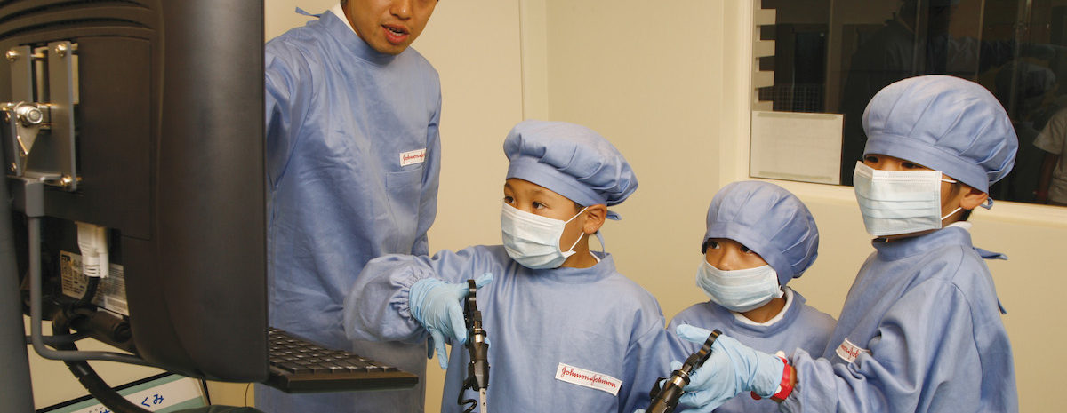 At KidZania, children can roleplay different professions such as medial professionals.
