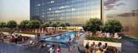 The Omni Frisco Hotel will feature a rooftop pool and deck overlooking The Star. The hotel will open in July.