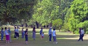 Women doing tai chi in a vista at Kew Gardens