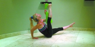 Elissa Barbach demonstrating stretching exercises.