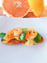 """Veronica Callaghan's Grand Prize """"Citrus Twist"""" Recipe: Charred Grapefruit and Shrimp Toasts with Candied Jalapenos  """"Bringing people and communities together through food is my passion and what I love to do. Thanks to everyone who participated this year. We are already in the planning stages for another exciting competition next year."""" ~ Executive Chef Kurtis Jantz"""""""