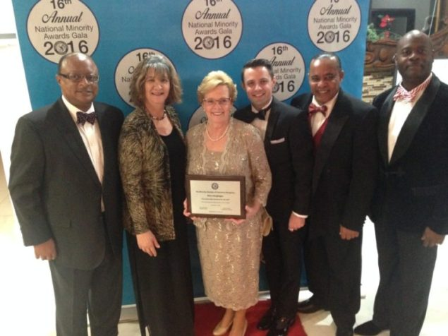 (Left to right) Miami Job Corps Center's Robert Brewster, Lesly Diaz, Center Director Mary Geoghegan and her son Patrick Geoghegan, Garrie Ryan and Dr. Robert Prosser at the Minority Chamber of Commerce's Awards Gala.