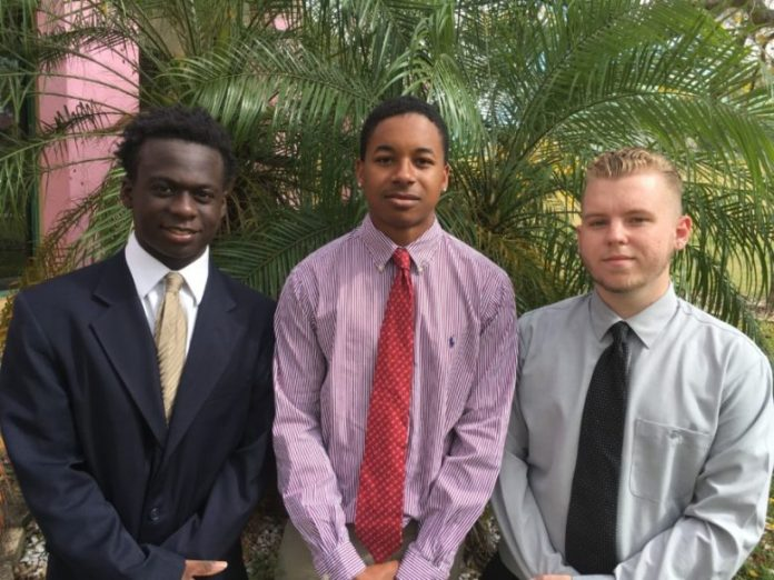 ADVOCATING FOR OUR YOUTH (Left to right) Miami Job Corps students Jeremiah Washington, Timmie Witcher and Dylan Mooneyhan were among the Children's Trust/Youth Advisory Committee participants in Tallahassee.