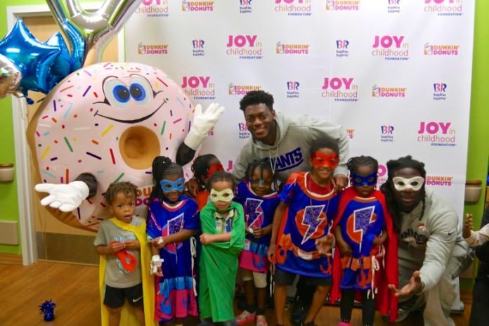 "Joy in Childhood Foundation & Starlight Children Foundation's ""Day of Joy"" at Holtz Children's Hospital with Jamal Carter of the Denver Broncos and Jeremiah McKinnon of the New York Giants"