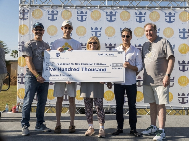 Some 2,000-plus employee volunteers took part in the Royal Caribbean GIVE Day activities which included painting and landscaping the schools.