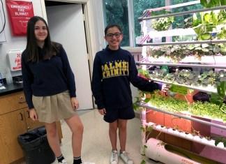 Palmer Trinity School 7th grade students grow hydroponic food