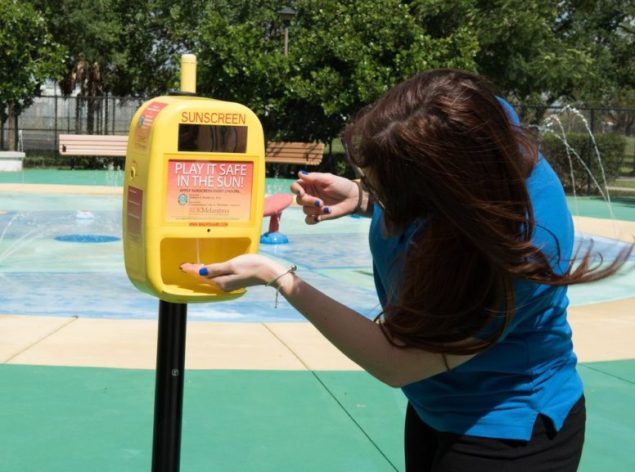 County unveils new free sunscreen dispenser at Westwind Lakes Park