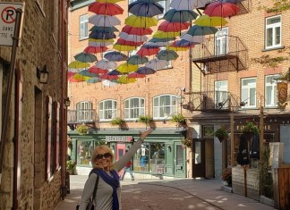 Quebec City umbrella installation similar to recent one in Gables