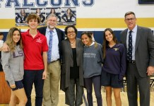 Author Julie Lythcott-Haims (center) is pictured with Palmer Trinity students (l-r): Carmen Gonzalez ,Class of 2020; Joseph Sulkes, '20; Ashley Chapman, head of upper school; Lythcott-Haims; Dani Gomez, '20; Pam Ascobereta, '21, and Patrick Roberts, head of school.