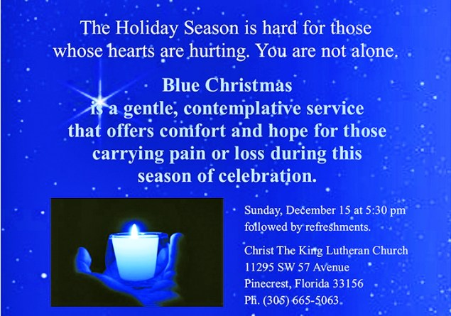 Blue Christmas Service offered by Christ the King Lutheran Church