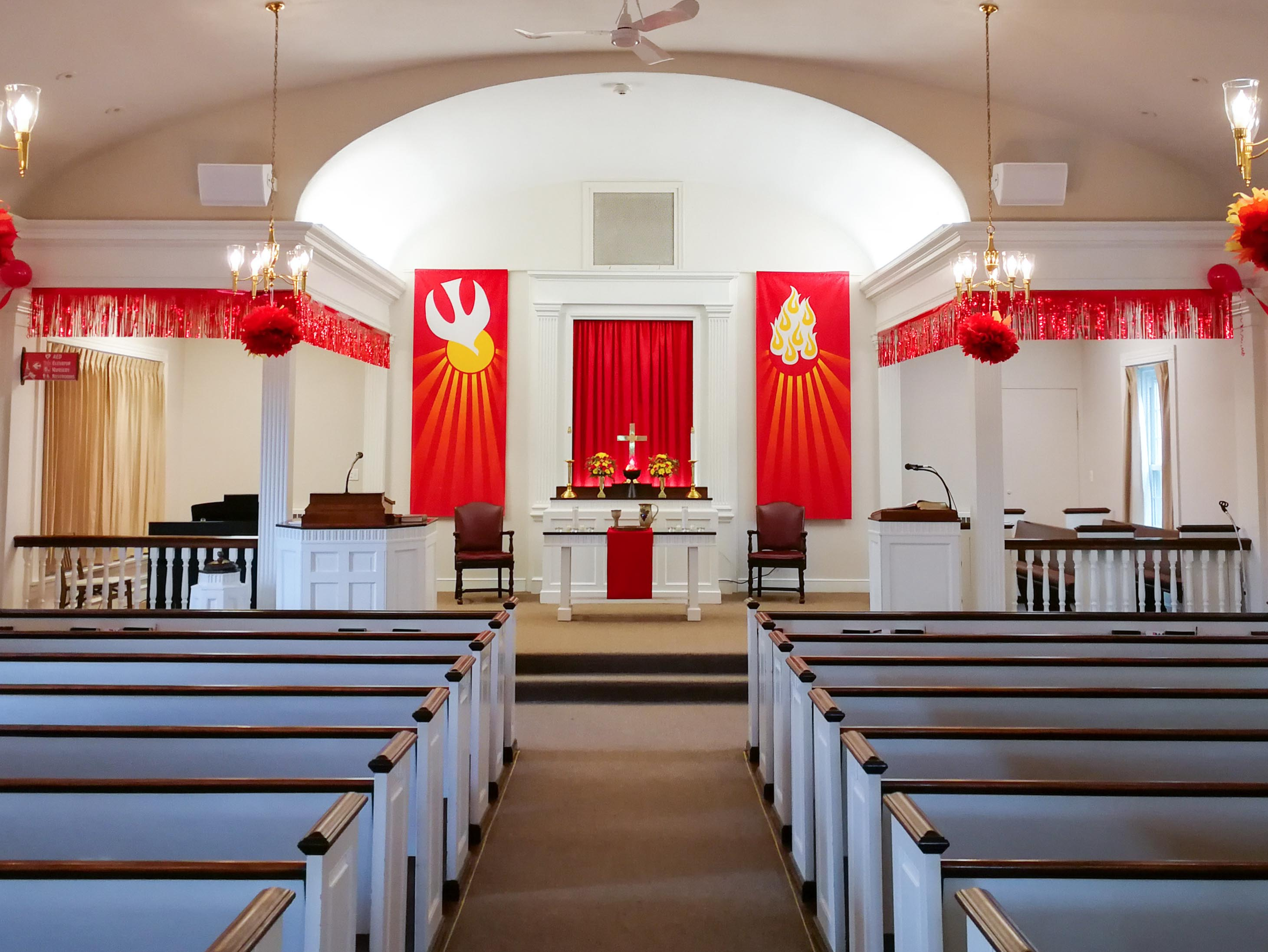 Sanctuary decked out for Pentecost