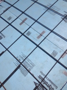 #4 Rebar grid over DOW chemical styrofoam insulation board.