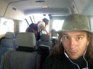 Me in the banana wagon (van we use to carpool to the site)