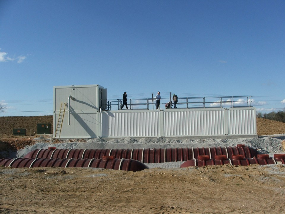 Wastewater treatment system with operators on top