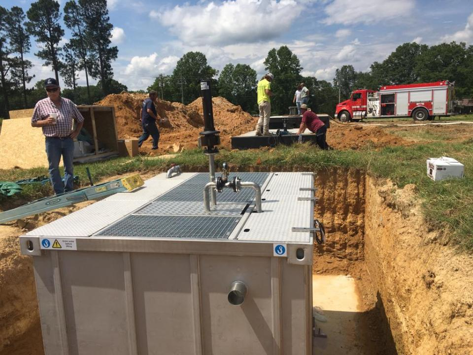 Commercial wastewater treatment plant installation