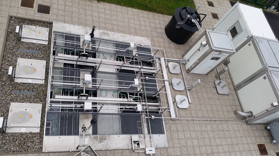 Wastewater treatment plant overhead view