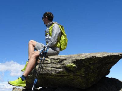 hiker on rock