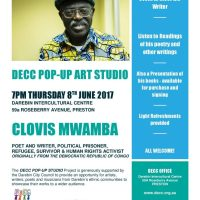 CT President, Clovis Mwamba, will read some of his poetry and other writings at the Darebin Ethnic Communities Council on 8 June, 2017