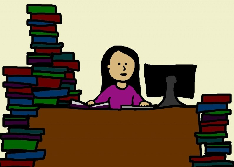 Cartoon woman at desk with piles of books