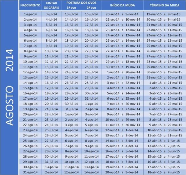 Tabela Agosto