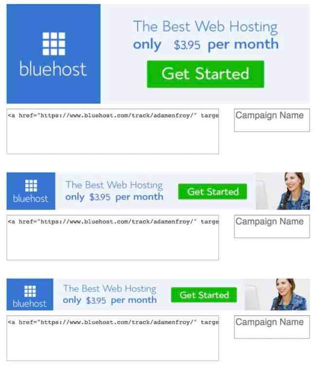 Banners de afiliados Bluehost