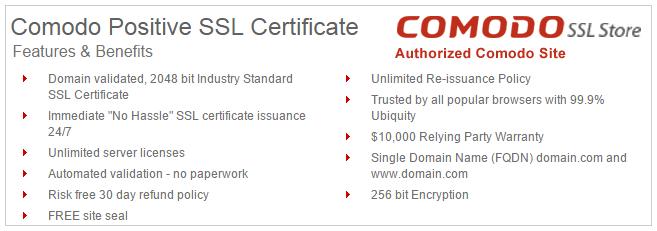 Difference between Comodo EssentialSSL vs. PositiveSSL Certificate