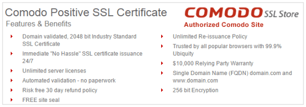 Difference between Comodo EssentialSSL vs. PositiveSSL Certificate