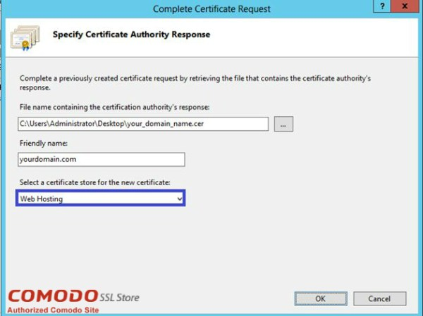 Complete Certificate Request for SSL