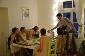 Mr. Fulano serving the wine