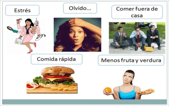 Factores como el estrés o el exceso de trabajo originan una mala alimentación